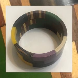 Vintage Multi Colored Bangle with Wood Inlay